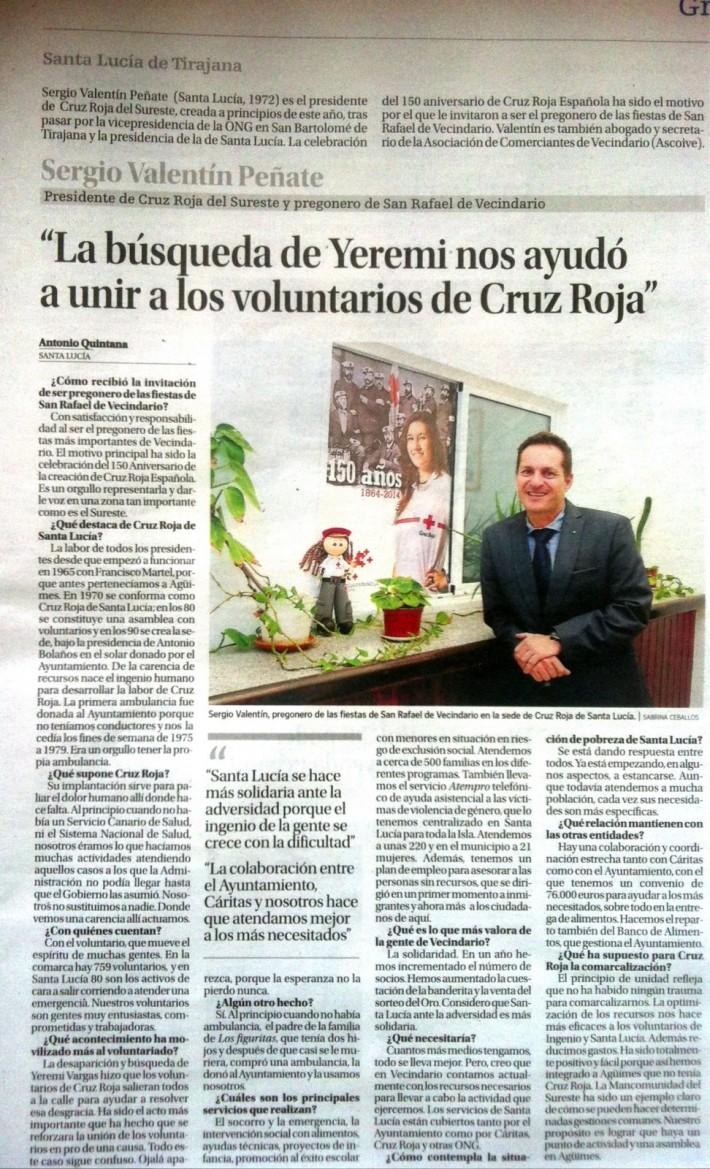 Sergio Valentín, Presidente de Cruz Roja Española para el Sureste de Gran Canaria. Pregonero San Rafael 2014
