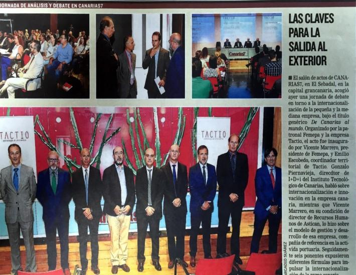 """Canarias7: asistimos a la Jornada: """"Internacionalización de la Pyme Canaria»"""